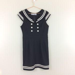 Hell Bunny Vixen Black White Sailor Nautical Dress